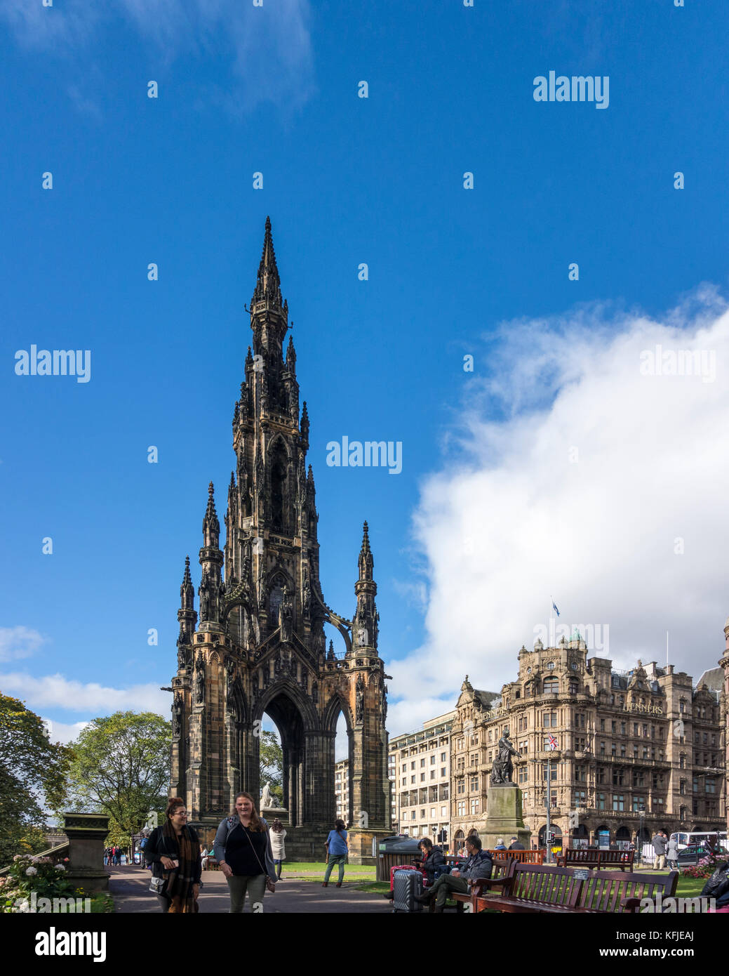 Scott Monument, Victorian Gothic tower monument to Sir Walter Scott. Princes Street Gardens, Edinburgh, Scotland, - Stock Image