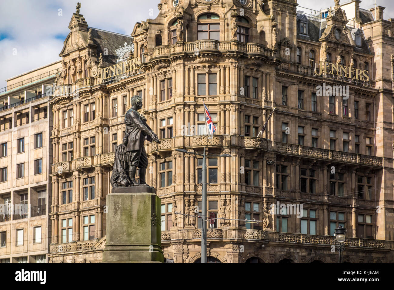 David Livingstone statue by Amelia Robertson Hill with Jenners department store in the background. Edinburgh, Scotland, - Stock Image