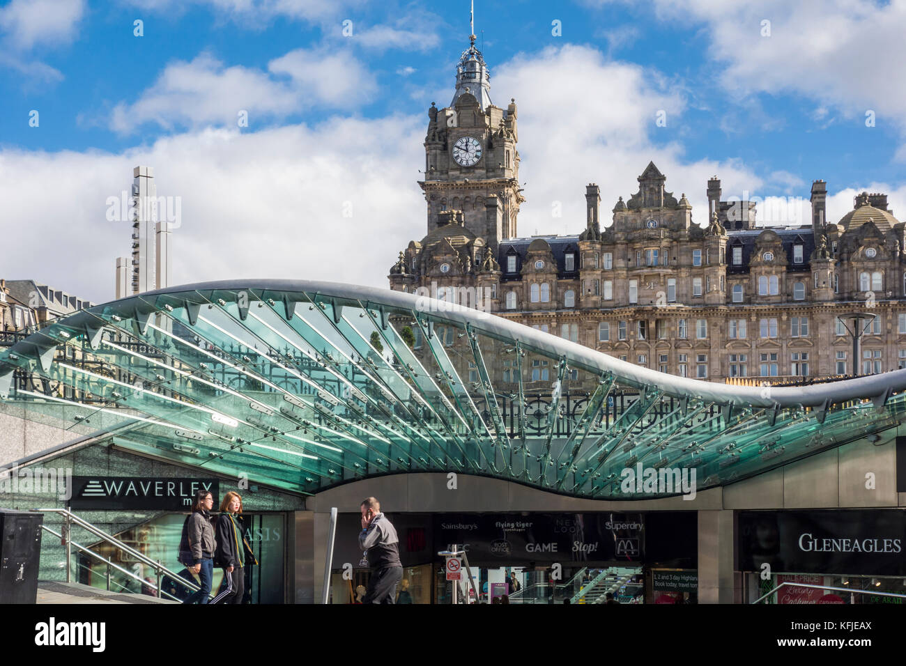 Entrance to Waverley Mall with The Balmoral Hotel in the background, Edinburgh, Scotland, UK - Stock Image