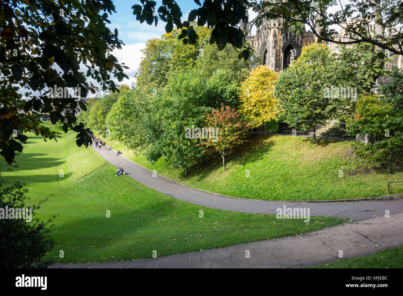 Princes Street Gardens, public park in Edinburgh city centre, Scotland, UK Stock Photo
