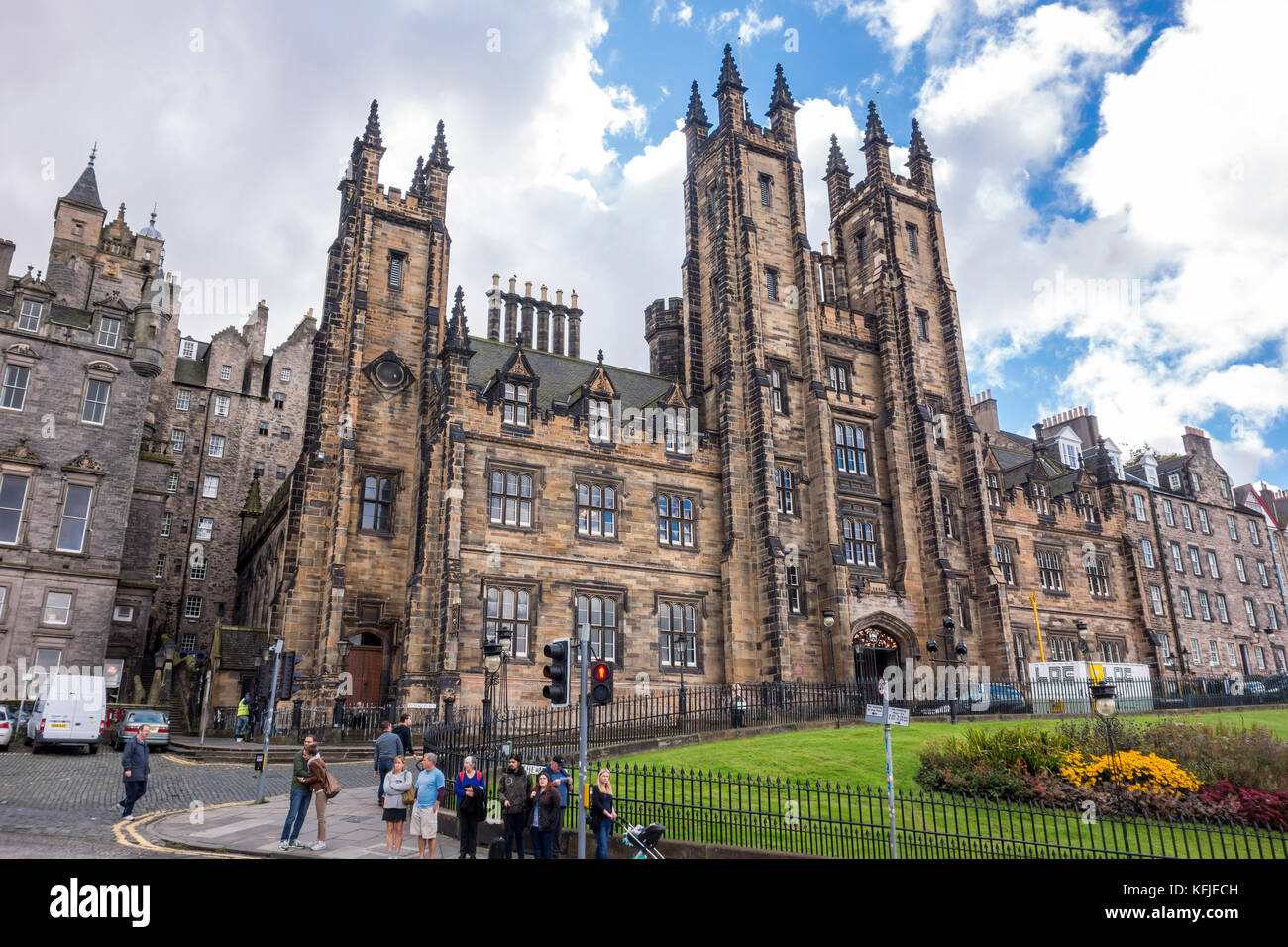 General Assembly Hall and New College, The University of Edinburgh on the Mound hill in Edinburgh, Scotland, UK - Stock Image