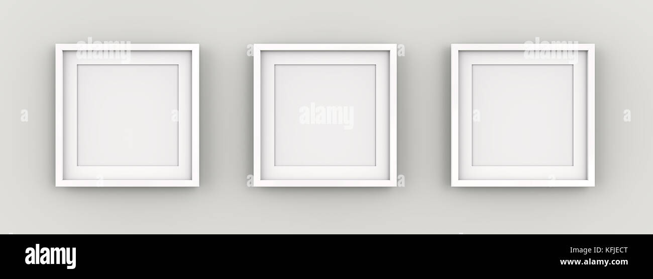 Row of 3 Square White Frames on wall with white Passe-partout. Blank for Copy Space. 3D render. - Stock Image