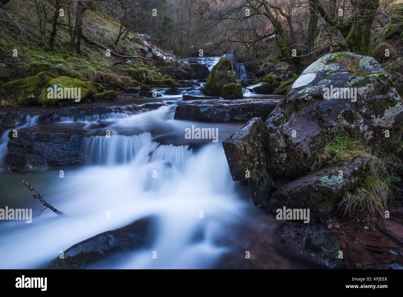 Waterfall at Blaen Y Glyn, Wales UK - Stock Image