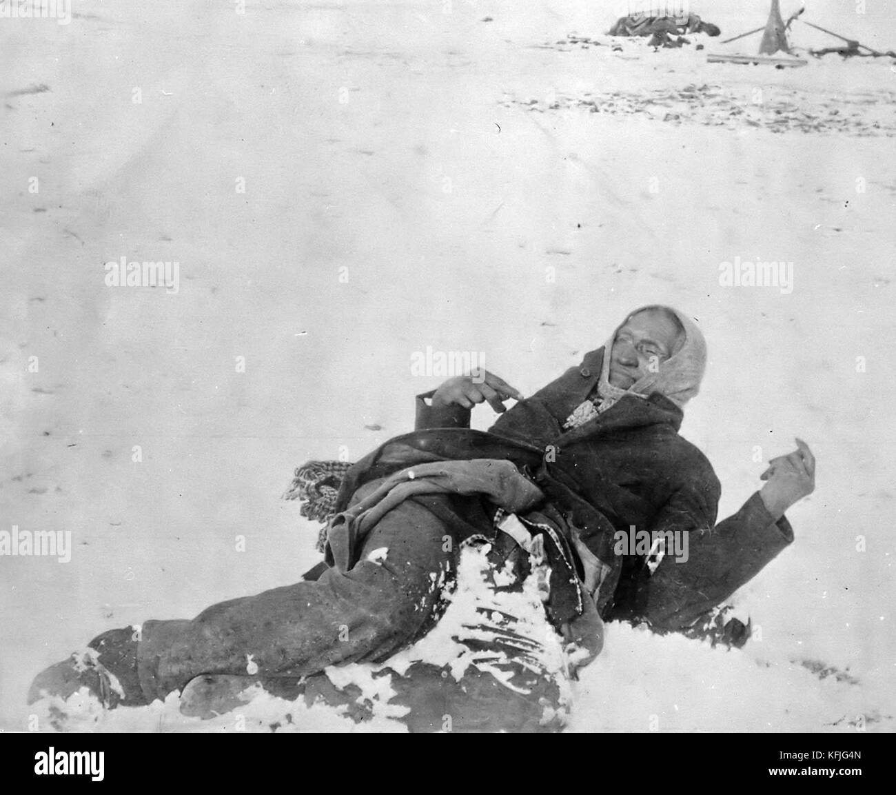 Indian Chief Spotted Elk lies dead after the massacre of Wounded Knee, 1890 Stock Photo