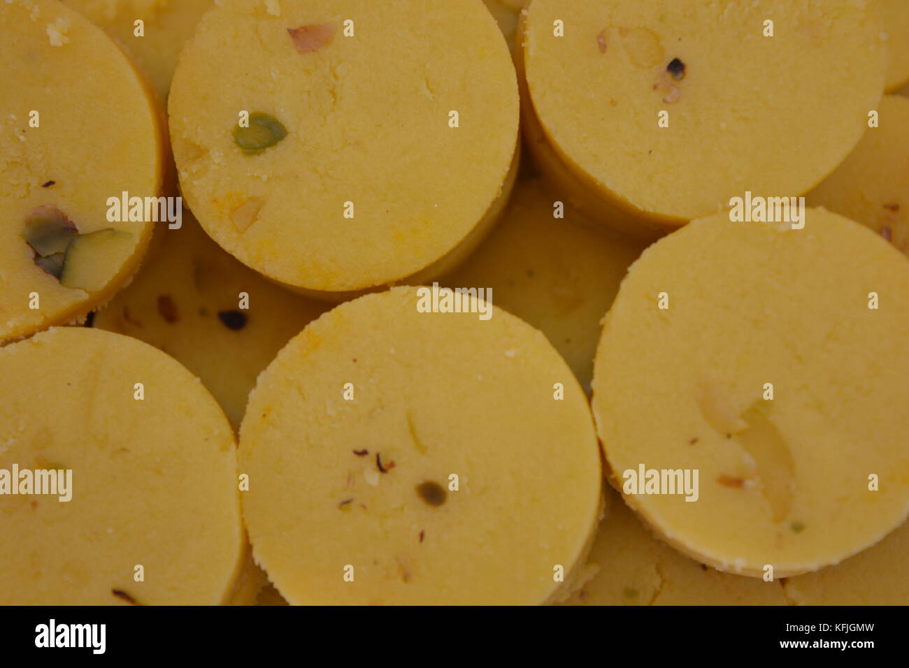 Indian sweets Kesar Peda or Pedha - Stock Image