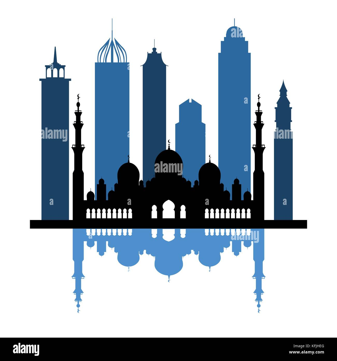 Vector illustration of United Arab Emirates skyscrapers silhouette. Dubai and Abu dhabi buildings. Design for banner, - Stock Image