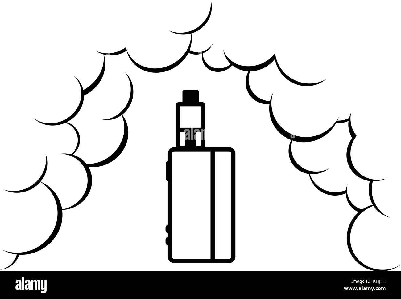 vaporizer electric cigarette vapor mod - vape life vector - Stock Image