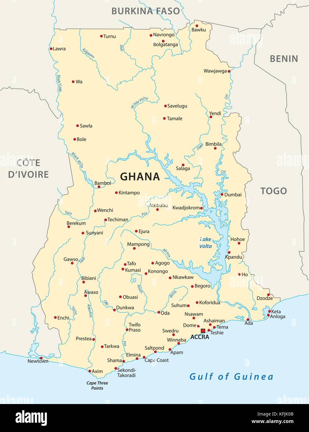 ghana vector map - Stock Vector
