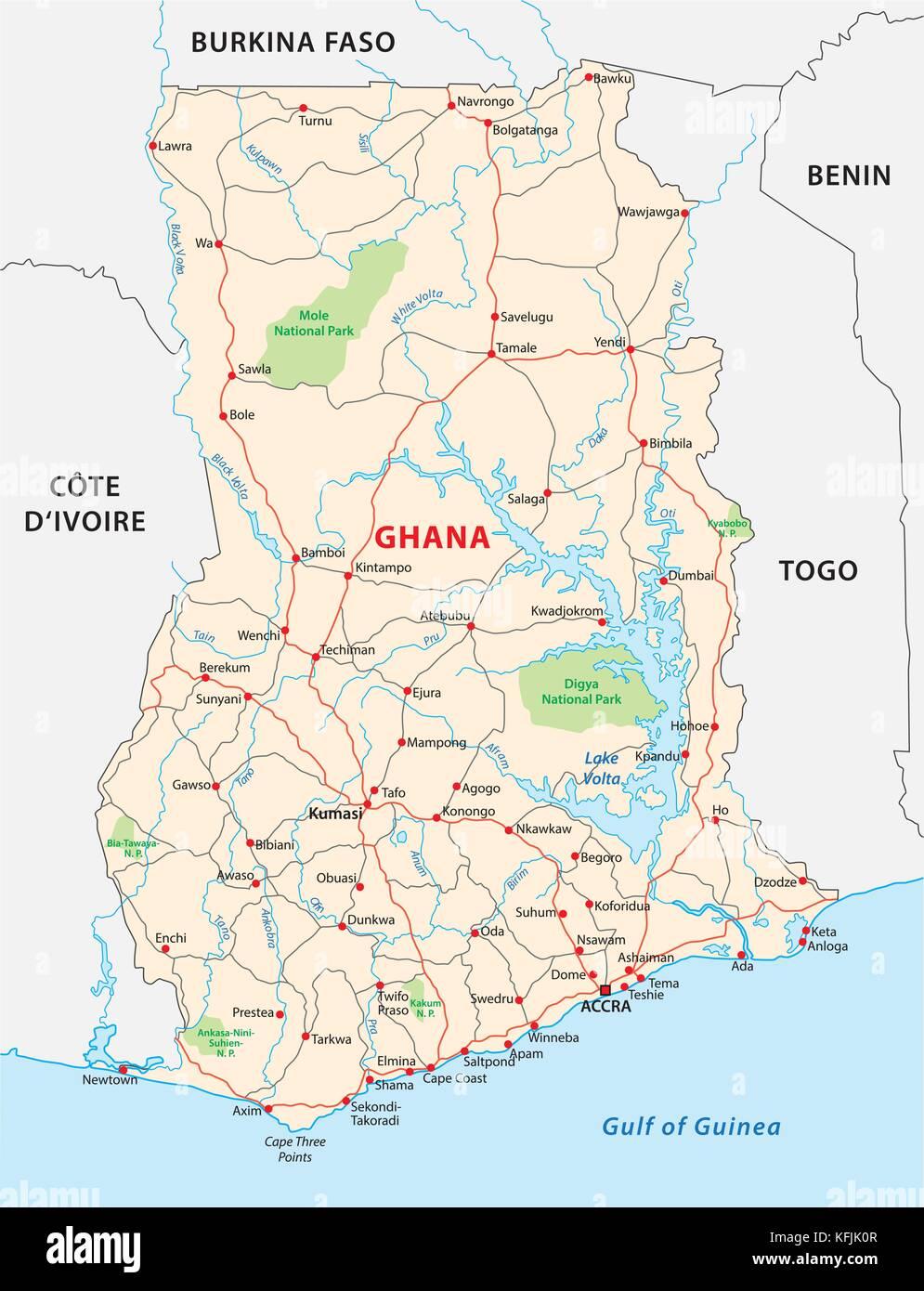 ghana road vector map - Stock Vector