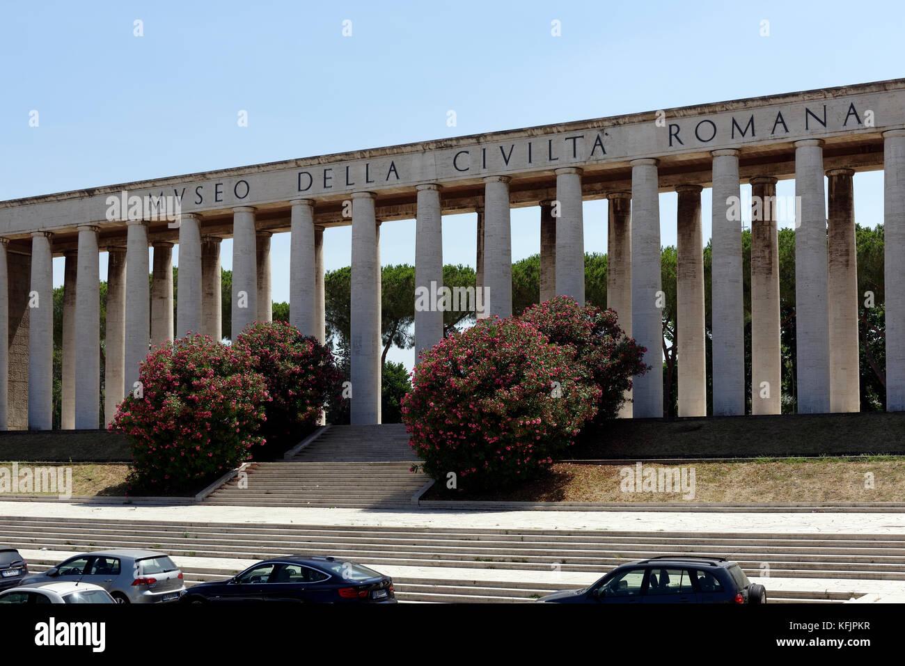 Exterior view of the Museum of Roman Civilisation (Museo della Civilta Romana). EUR, Rome, Italy. - Stock Image
