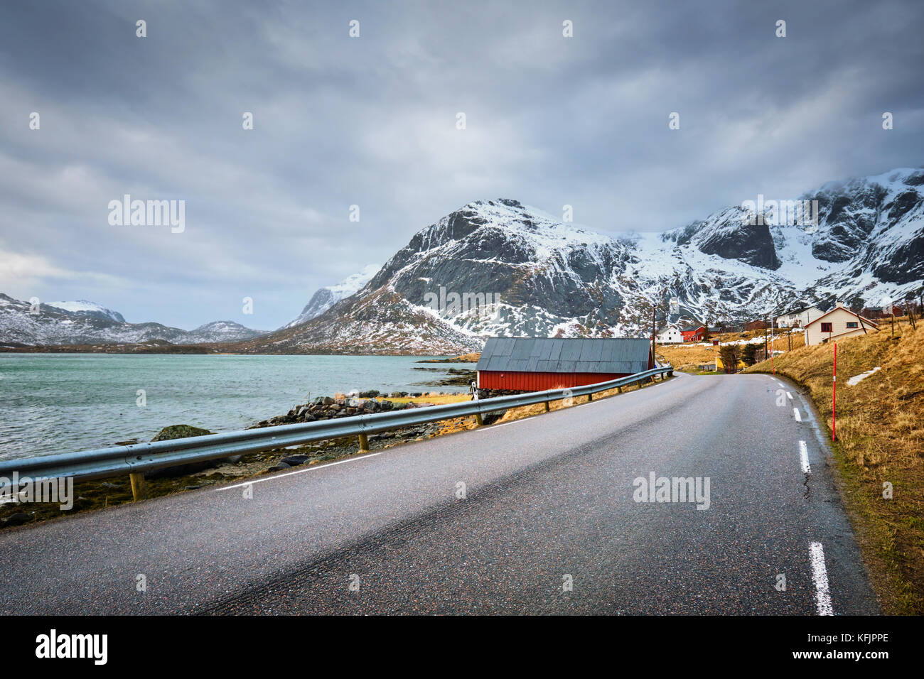 Road in fjord in Norway - Stock Image