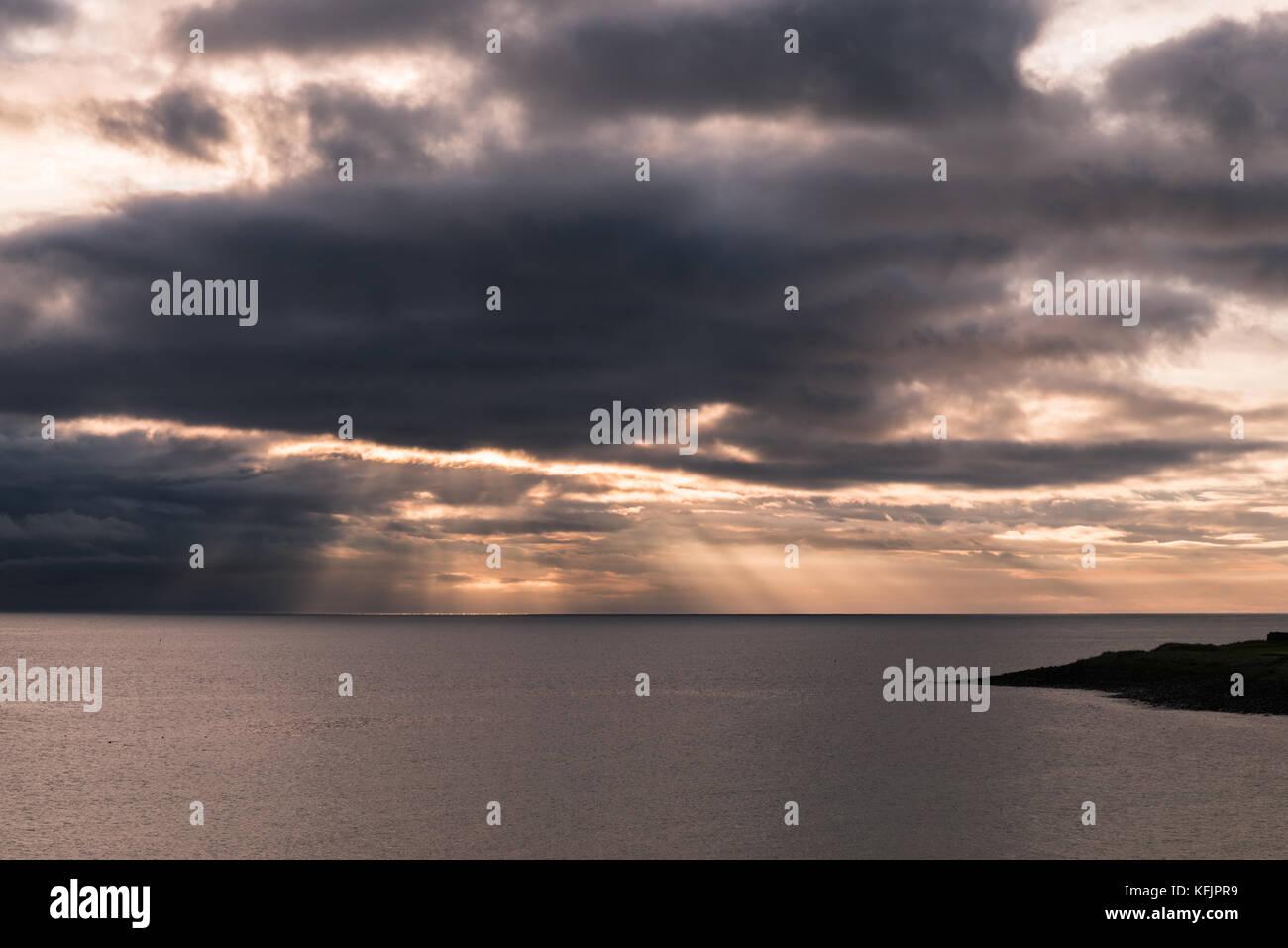 Sunrays, Embleton Bay - Stock Image