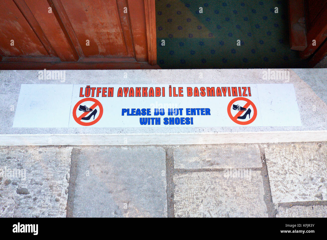 Informational sign with the behavioral norms for the entry to a Mosque. Antalya. Turkey. - Stock Image