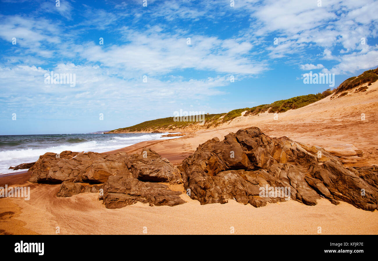 a view of the Spiaggia di Piscinas beach in Arbus, Sardinia, Italy Stock Photo