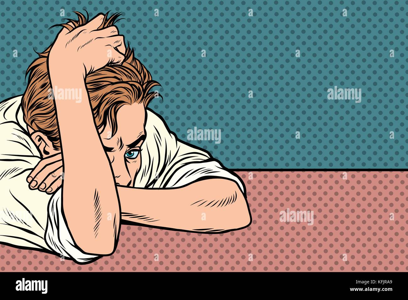man lies on the table, thinking, depression and fatigue - Stock Vector
