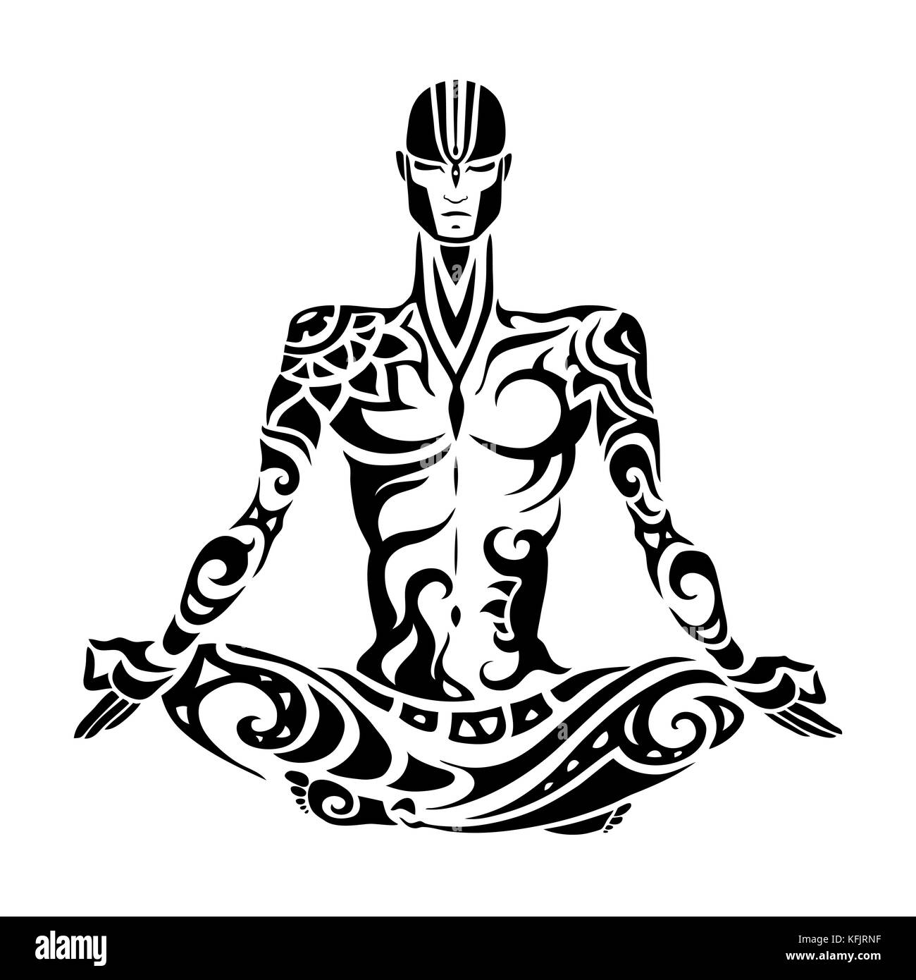 Yoga Man Silhouette Hand Drawn Vector Illustration Meditation In Lotus Pose Padmasana