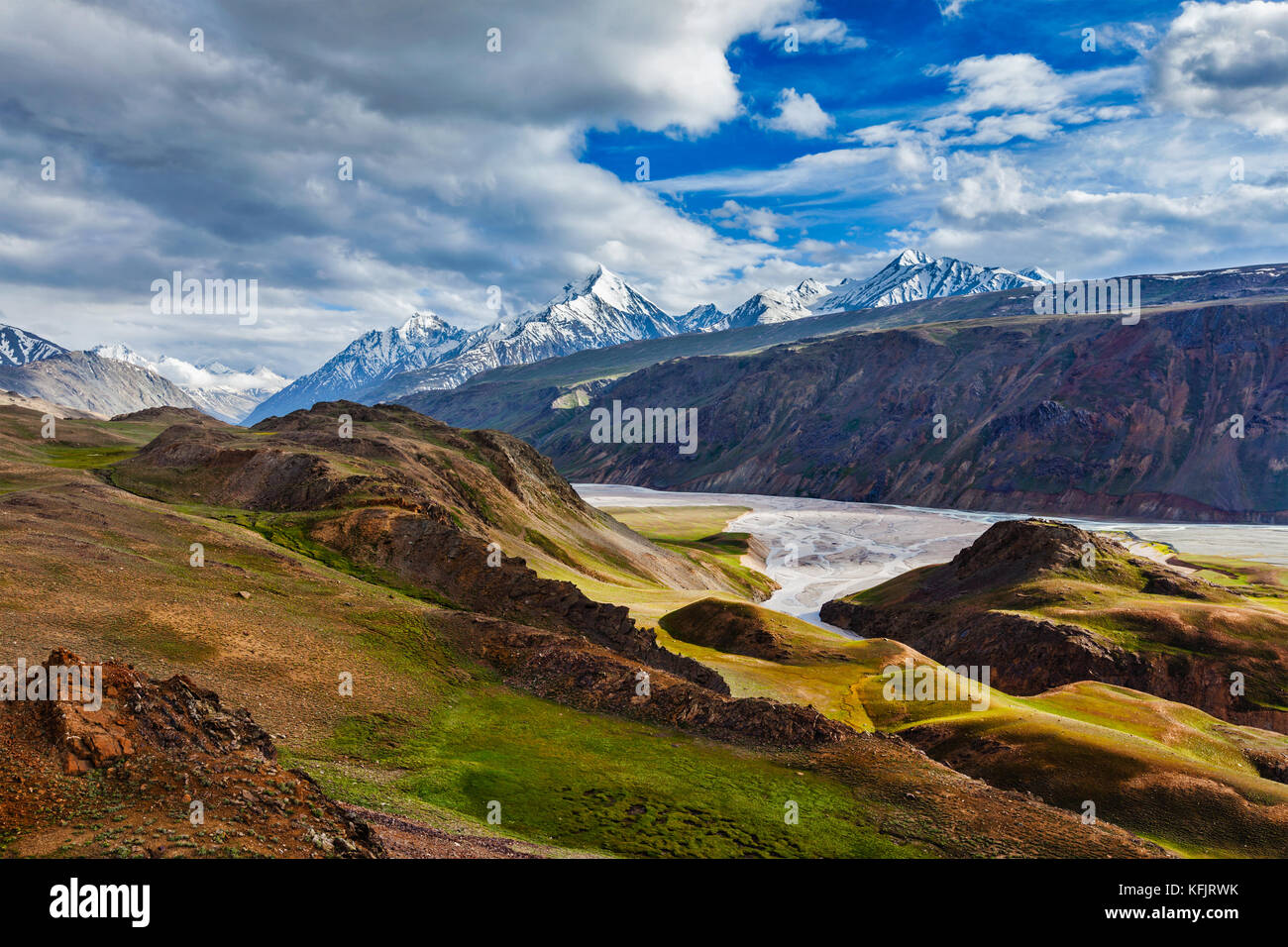 HImalayan landscape in Himalayas, Himachal Pradesh, India - Stock Image