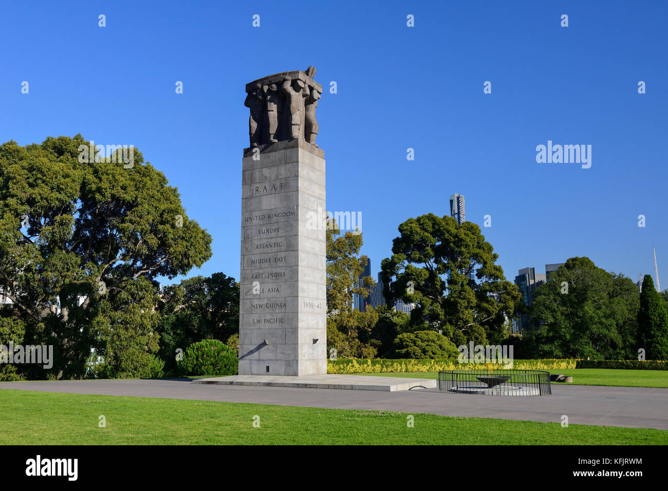 Royal Australian Air Force  World War II Memorial within the King's Domain Park in Melbourne, Victoria, Australia - Stock Image
