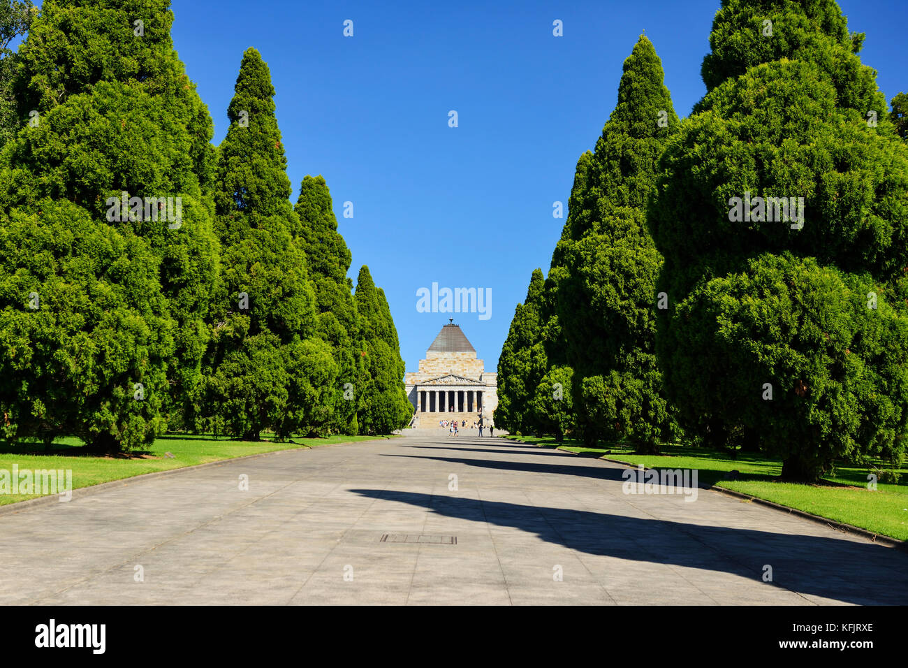 View along tree-lined avenue leading to the Shrine of Remembrance within the King's Domain Park in Melbourne, - Stock Image