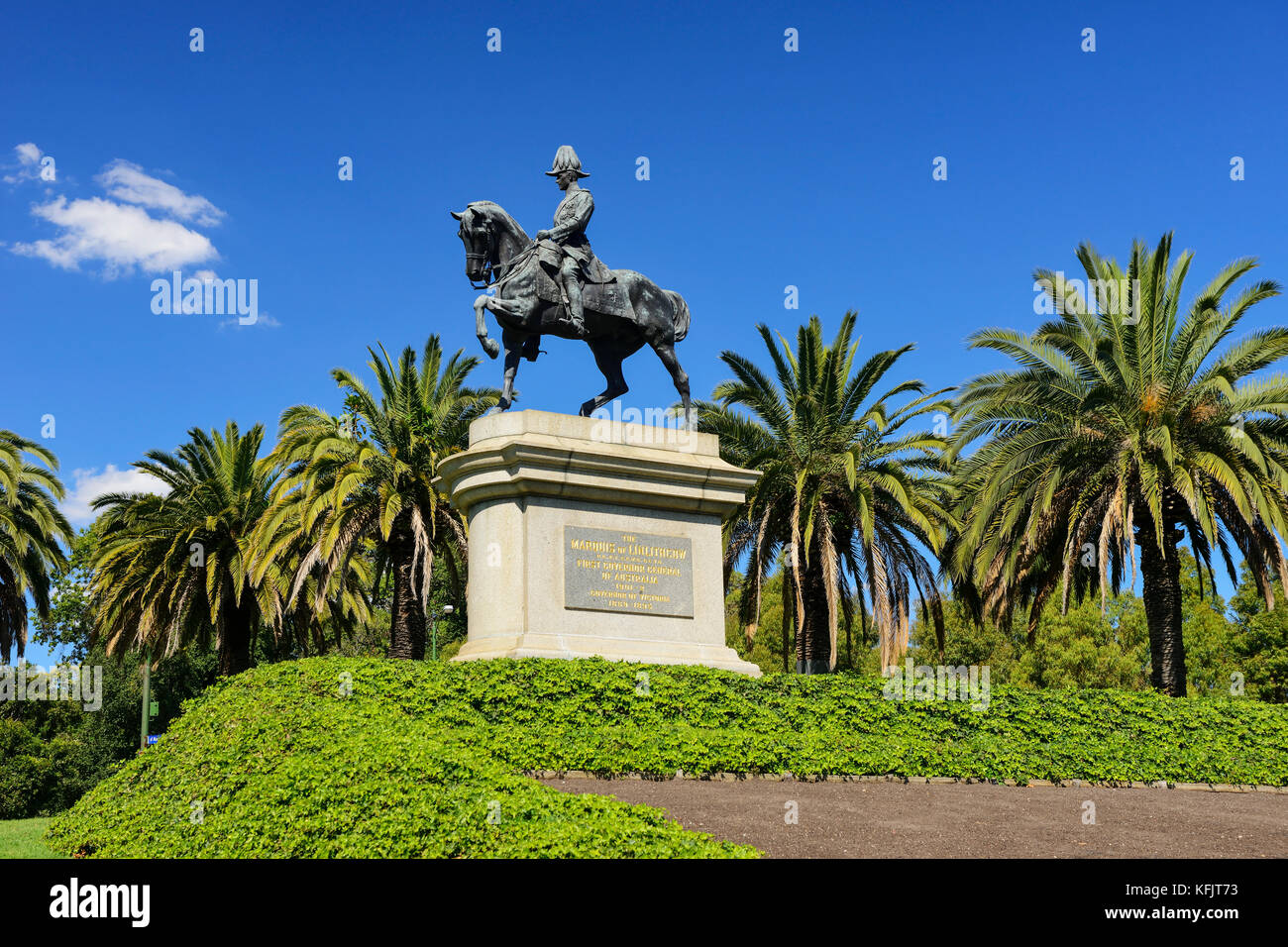 Bronze equestrian statue of Lord Hopetoun, first Governor-General of Australia, within the King's Domain Park in Melbourne, Victoria, Australia Stock Photo