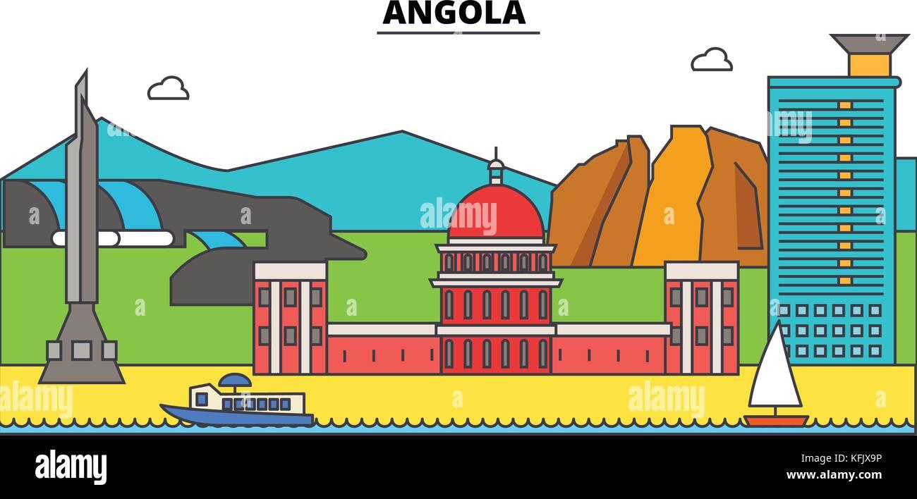 Angola  outline city skyline, linear illustration, banner, travel landmark, buildings silhouette,vector - Stock Vector