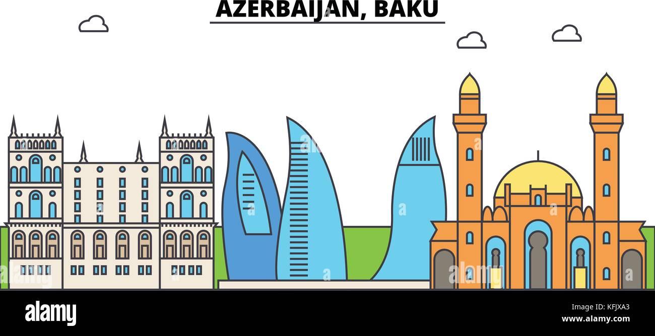 Azerbaijan, Baku outline city skyline, linear illustration, banner, travel landmark, buildings silhouette,vector - Stock Vector