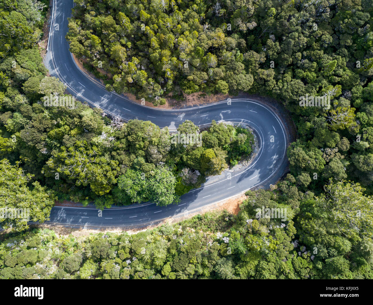 Aerial shot looking straight down of a winding two lane road through bush land. - Stock Image