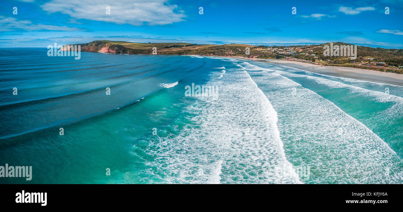 Aerial panorama of Cape Bridgewater beach, Victoria, Australia - Stock Image