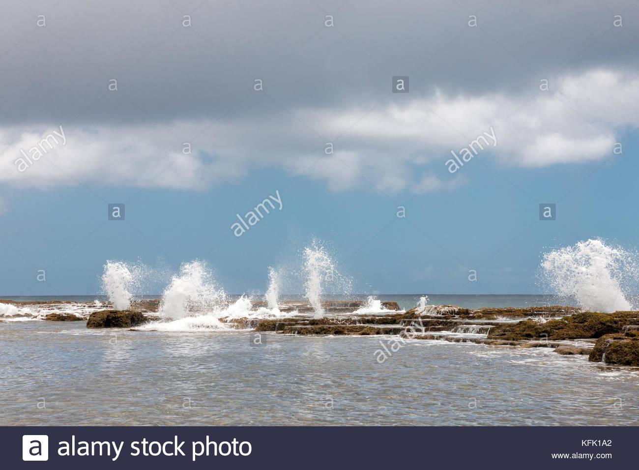 Blowholes - coastal feature of Tongatapu island, Tonga - Stock Image