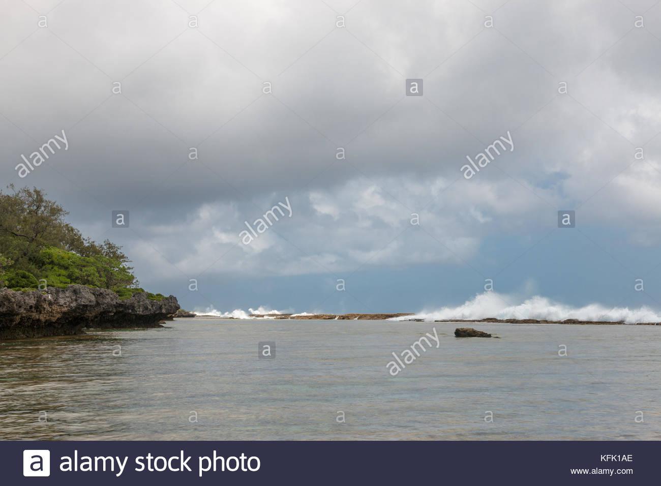 Natural blowholes , Tongatapu island, Kingdom of Tonga - Stock Image