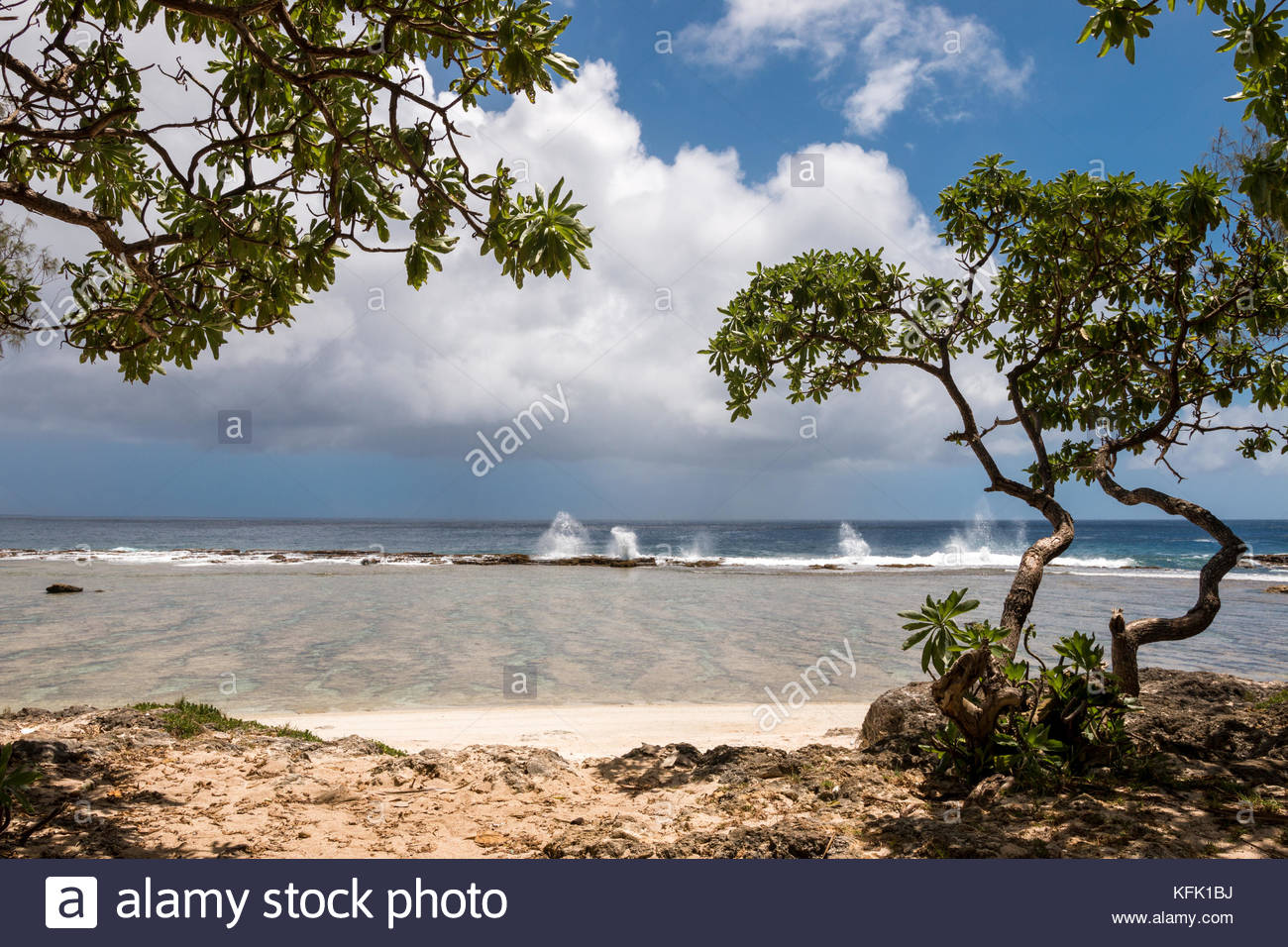 Hidden little beach with view to blowholes, Tongatapy Island, Tonga - Stock Image