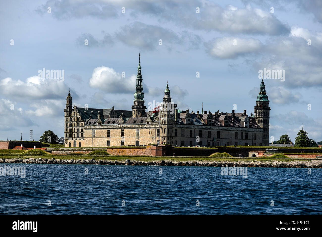 Kronborg Castle in Denmark, view from the water, sunny summer day. - Stock Image