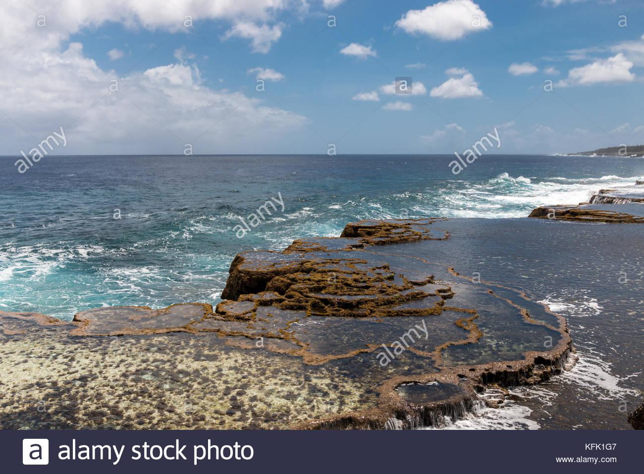 Coastline at Mapu'a 'a Vaea Blowholes in Tonga - Stock Image