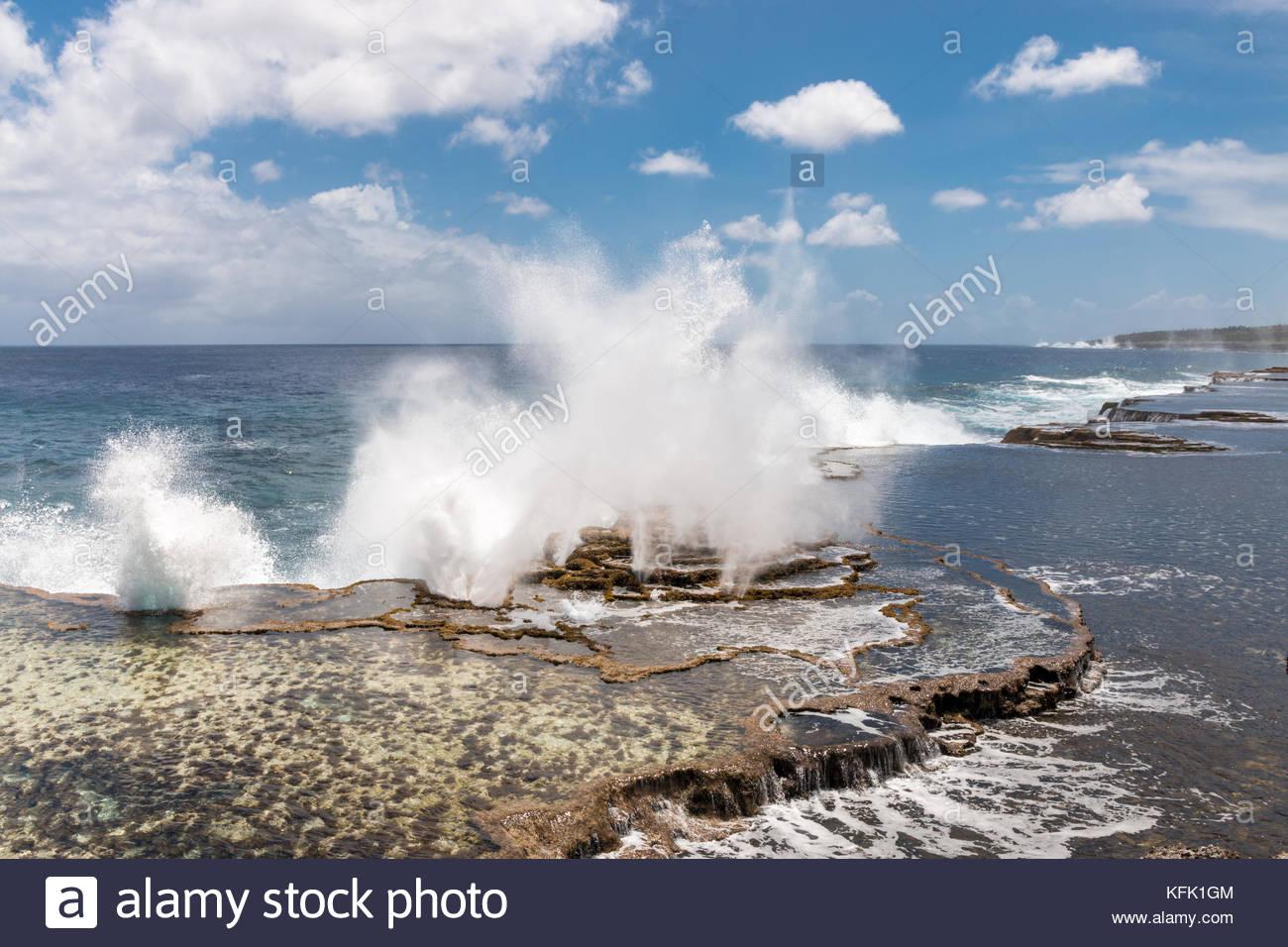 Mapu'a 'a Vaea Blowholes, Tongatapu, Tonga - Stock Image