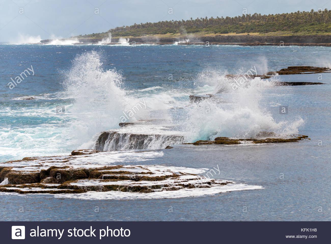 Mapu'a 'a Vaea Blowholes-3, Tongatapu, Tonga - Stock Image