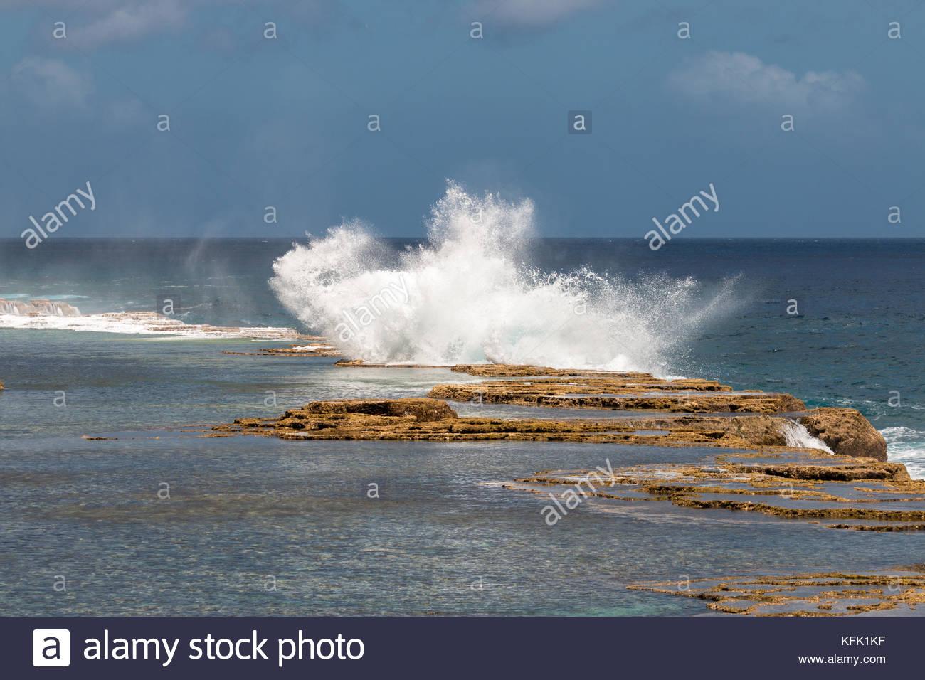 Splash of Mapu'a 'a Vaea Blowholes, Tongatapu, Tonga - Stock Image