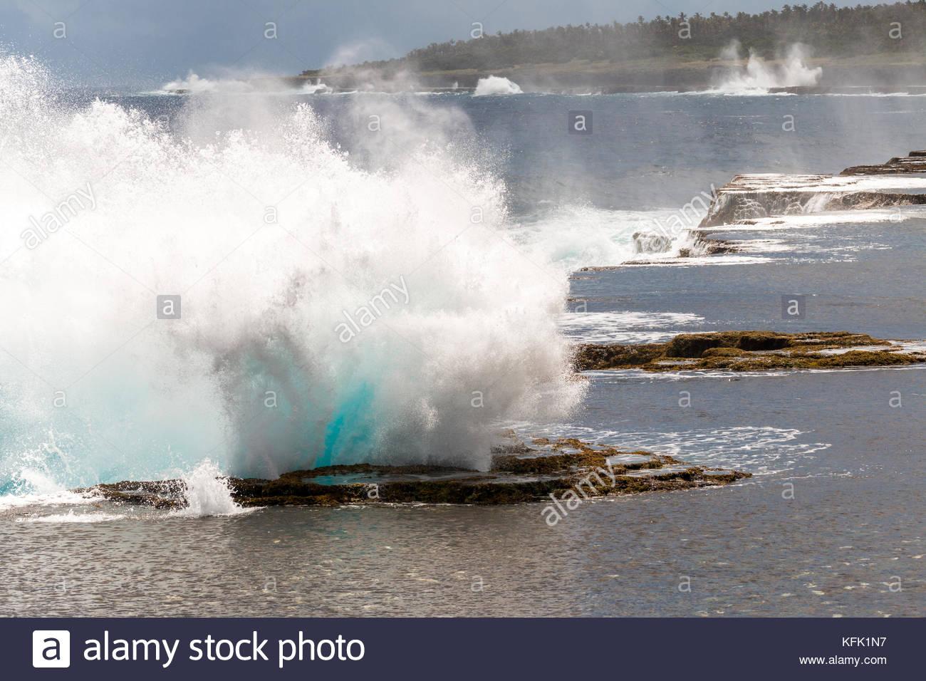 Closeup of splash of Mapu'a 'a Vaea Blowholes, Tongatapu, Tonga - Stock Image