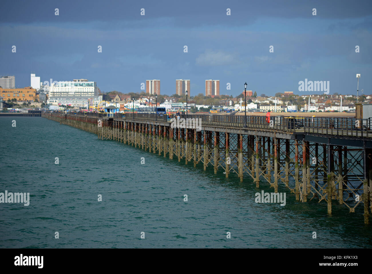 Southend Pier in the Thames Estuary. Ironwork iron structure legs. Space for copy - Stock Image