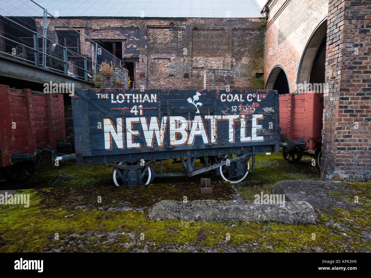 Old railway car for transporting coal  at the National Mining Museum at Newtongrange in Scotland, United Kingdom. - Stock Image