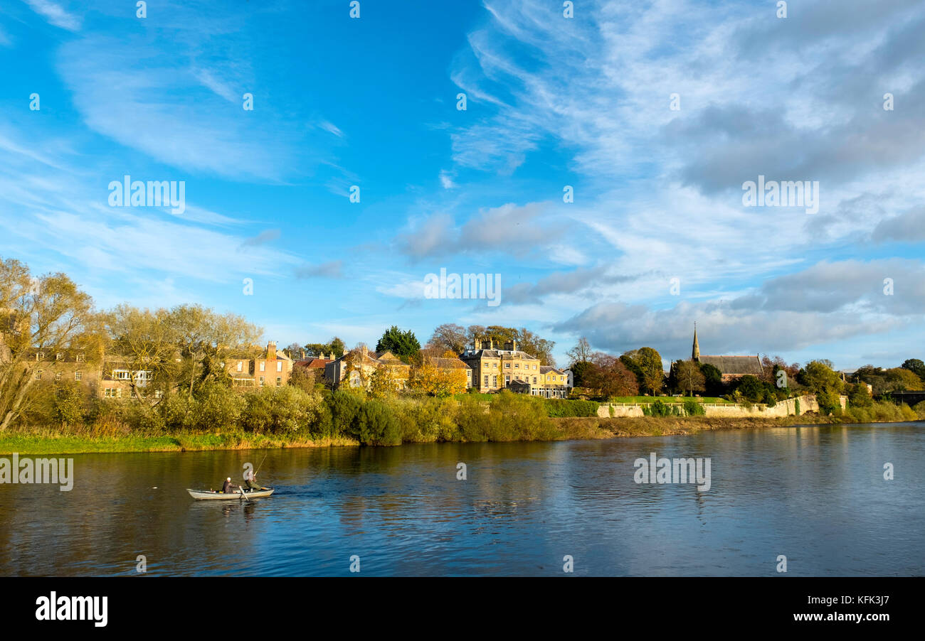 Fishing for Salmon on River Tweed in Kelso, Scottish Borders, Scotland, United Kingdom - Stock Image
