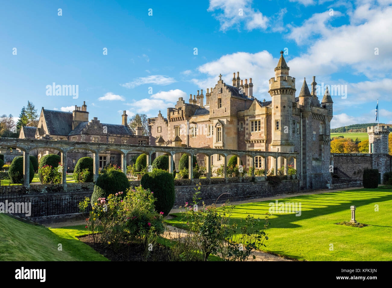 View of Abbotsford House the former home of Scottish writer Sir Walter Scott outside Melrose in Scotland, United - Stock Image