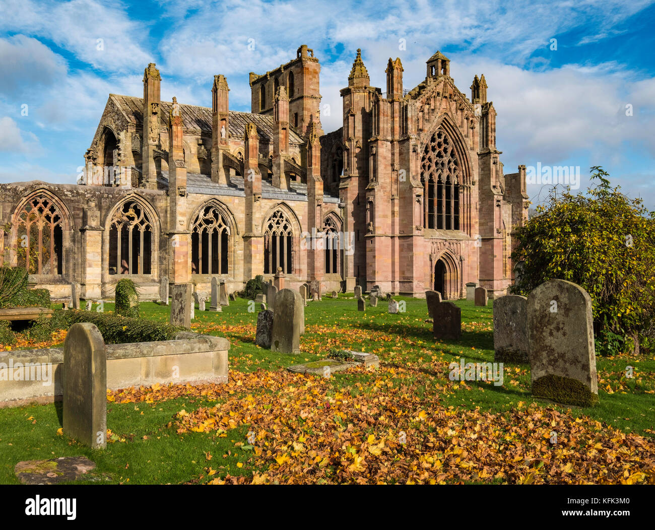 View of Melrose Abbey in Scottish Borders, Scotland, United Kingdom - Stock Image