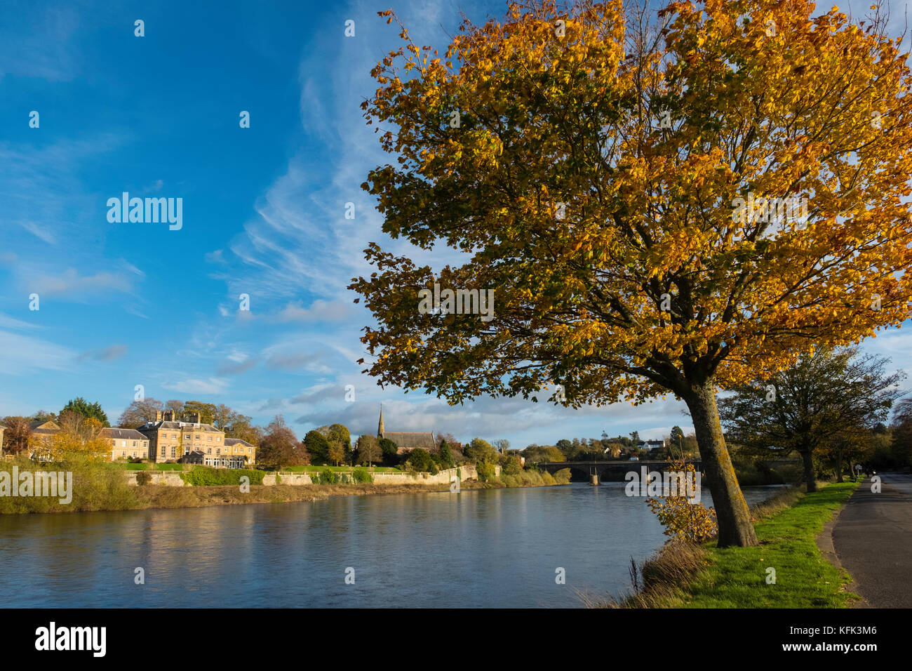 View of River Tweed in Kelso in the Scottish Borders, Scotland, United Kingdom - Stock Image