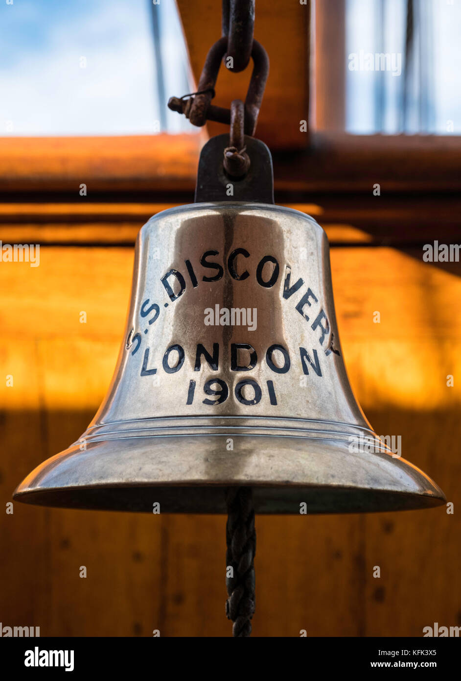 Ship's bell on Discovery ship berthed at Discovery Point in Dundee ,Tayside, Scotland, - Stock Image