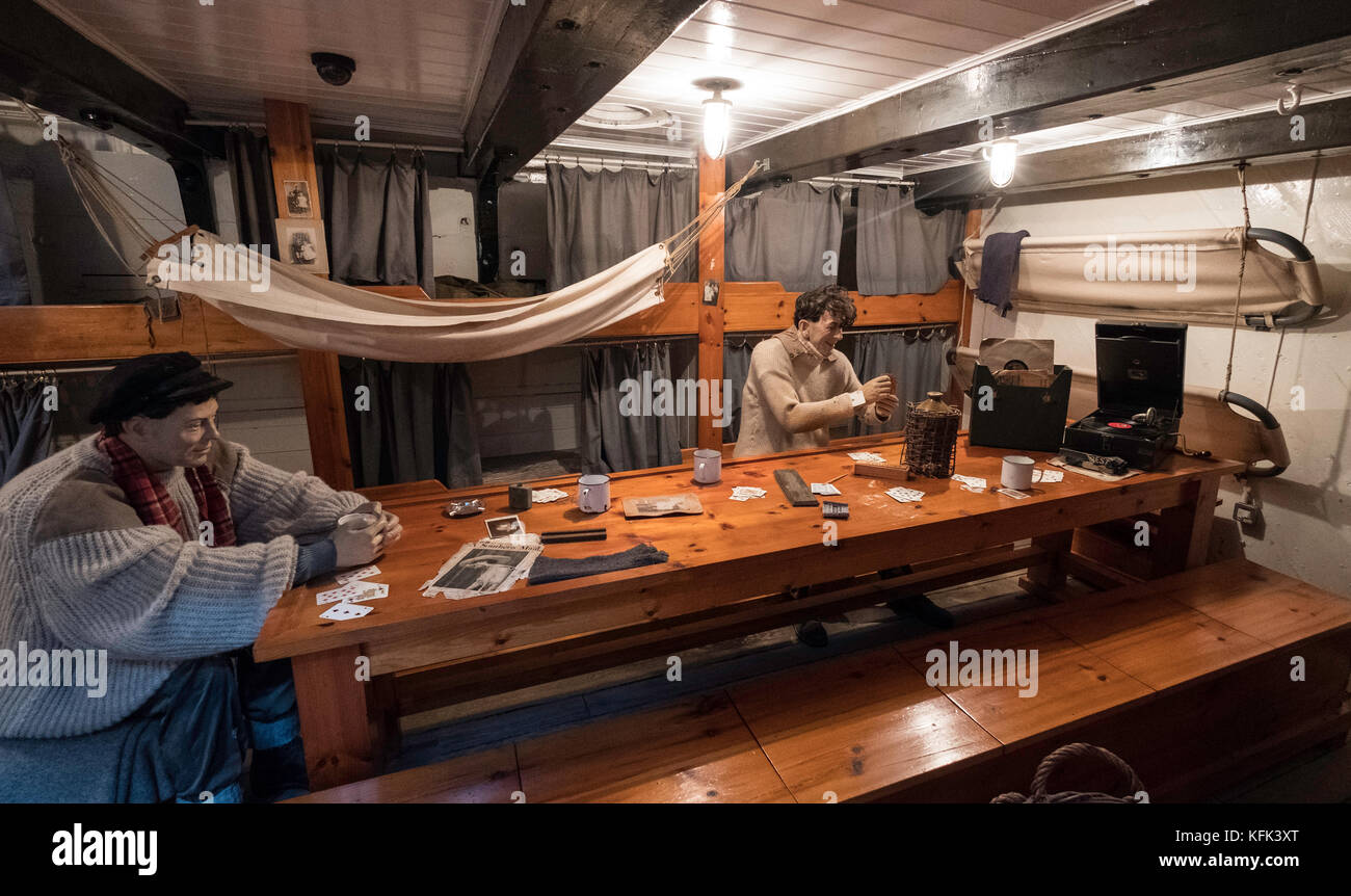 Mess room on Discovery ship berthed at Discovery Point  in Dundee ,Tayside, Scotland, - Stock Image