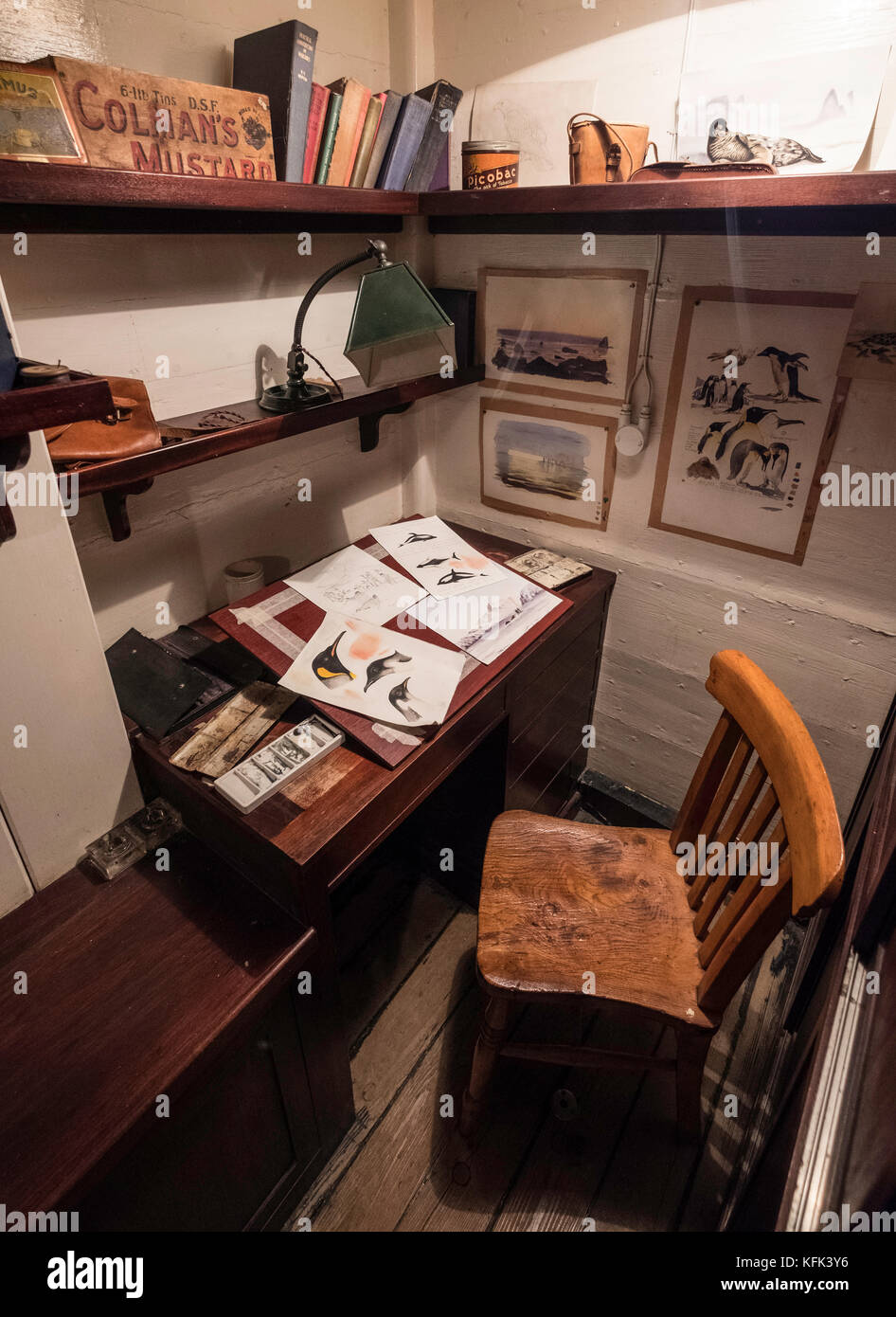 Interior of scientific officer's office  on the Discovery ship berthed at Discovery Point in Dundee ,Tayside, Scotland, Stock Photo