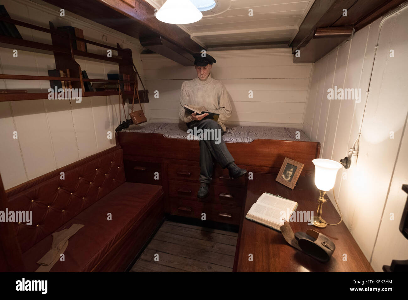 Interior of officer's cabin on the Discovery ship berthed at Discovery Point in Dundee ,Tayside, Scotland, - Stock Image