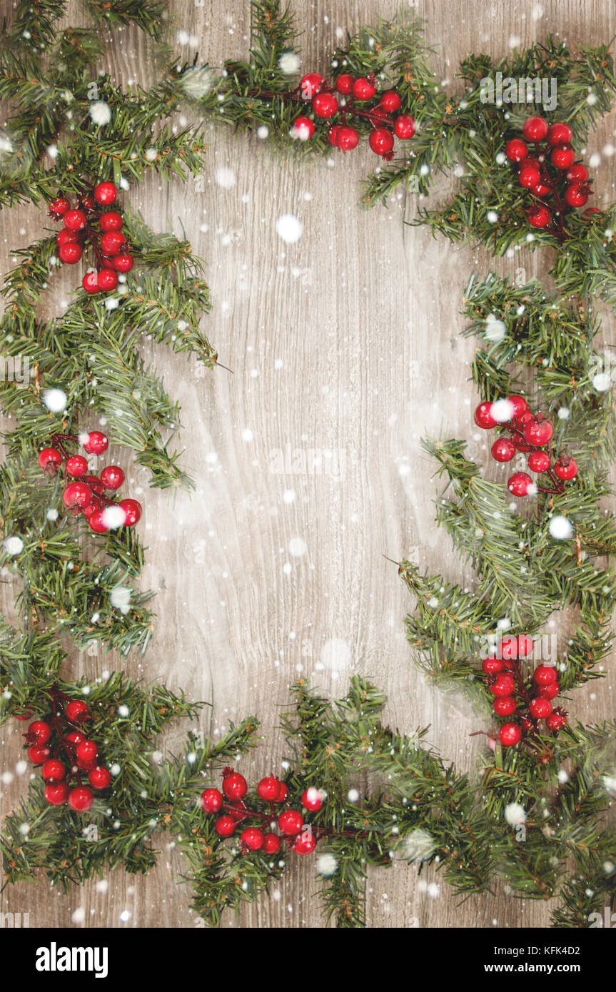 Christmas Wallpaper On Old Wood With Snowflakes Stock Photo Alamy