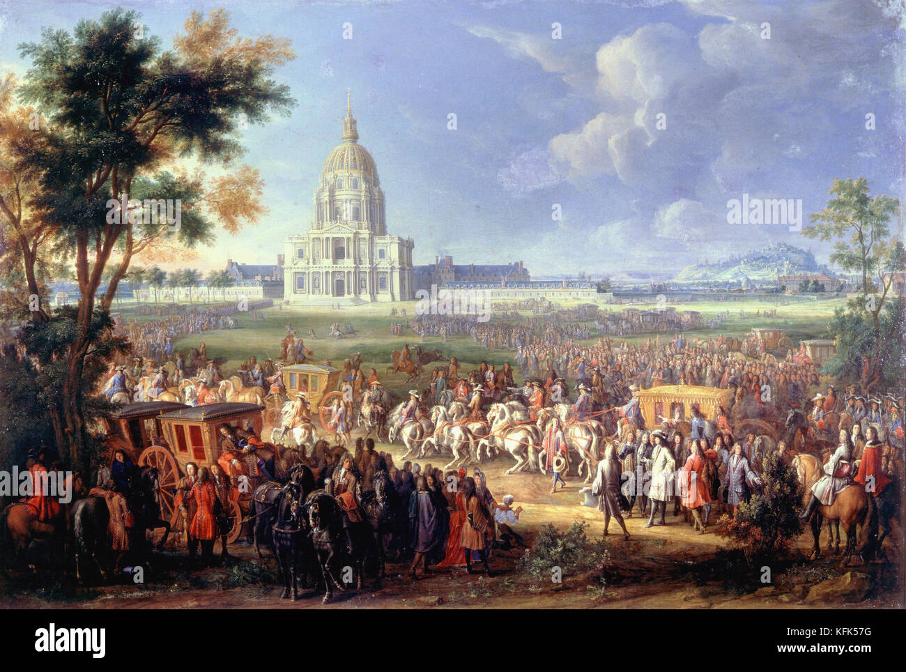 Pierre-Denis Martin   Louis XIV visiting the newly completed Church of the Hotel Royal des Invalides  1701  - Carnavalet - Stock Image