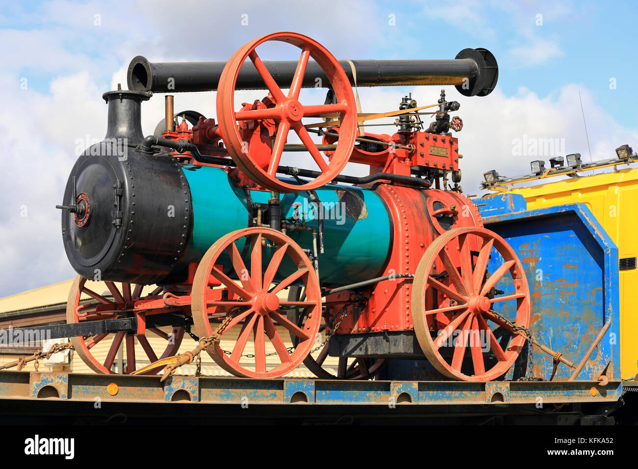 KOSKI TL, FINLAND - SEPTEMBER 1, 2017: Steam Traction Engine by Ruston, Proctor & Co, probably year 1899 transported - Stock Image